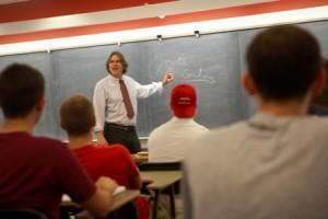 Professor D.C. Jackson teaches a class in Ramer History House.