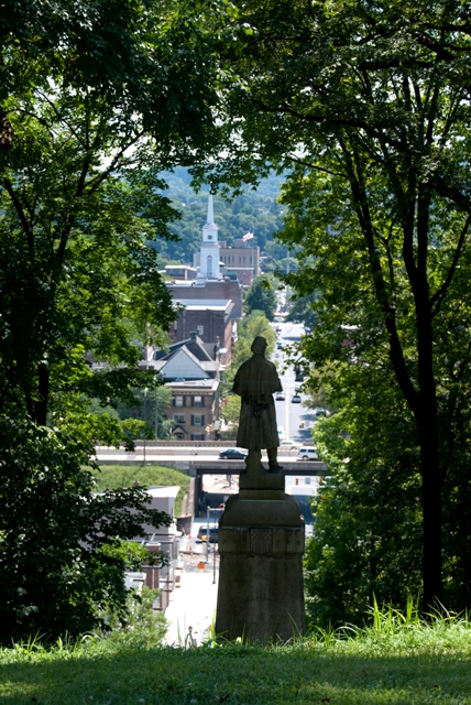 The civil war monument overlooks North Third Street and the Williams Arts Campus