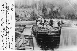An 1908 postcard showing a dam in Mullen Idaho, which will appear in Jackson's upcoming book.