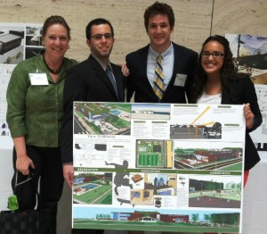Mary Wilford-Hunt (left-right), Nicolas Olivares '13, Michael Gadigian '13, and Gabriela Lachapel '™12 pose with their second-place project.