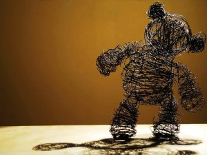 "wire sculpture called ""Teddy"" shaped like a teddy bear"