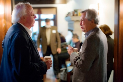 Ellis Finger, director of the Williams Center, speaks with Ted Ruthizer '69.