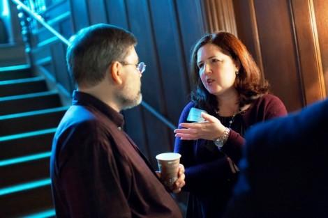 Craig Cunningham '83 chats with Nancy Telliho '83.