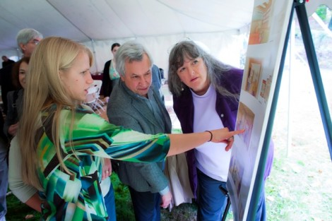 McKelvy Scholar Kara Enz '13 goes over some of the house's proposed renovations.