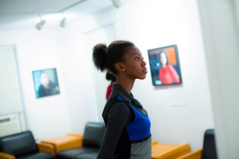 Attendees enjoy the (1)ne Drop exhibition by Yaba Blay, author and producer, and Noelle Theard, photographer.
