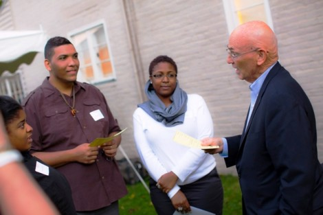 David Reif '68 talks with students.