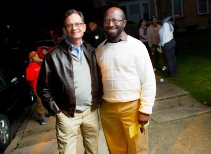 President Daniel H. Weiss (left) and Rex Ahene, professor of economics