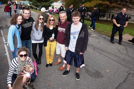 Alumni, students, and staff tailgate in Markle Parking Deck.