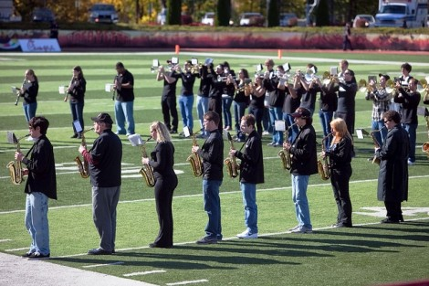 The Lafayette Pep Band performs a few halftime songs.