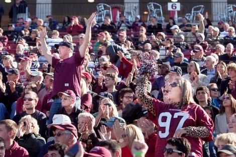 The crowd celebrates a touchdown.