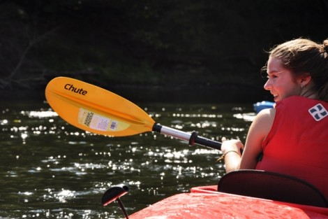 Lyndsey Munkel '13 can't contain her excitement on the Delaware River.