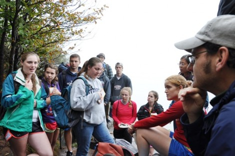 The students discuss Aldo Leopold's idea of 'wilderness' after hiking to a Catskills Mountain ledge in the fog.