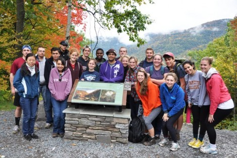 The class poses around Thomas Cole's Kindred Spirits before embarking on its trek to Kaaterskill Falls.