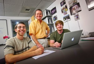 Professor David Nice with former EXCEL Scholars Anthony Post '14 and Joseph Tumulty '14 in Hugel Science Center