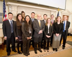 The team with Ben Bernanke, chairman of the Federal Reserve