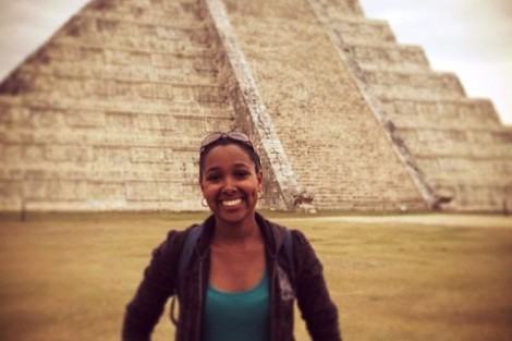 Jiselle Peralta '13 at the Mayan ruins of Chichen Itzá in Yucatán, Mexico