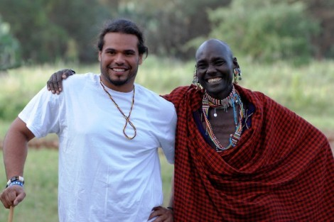 Andrew Holmes '12 poses with a villager in Kenya during an interim course on strategies for managing economic development and natural resources in sub-Saharan Africa.