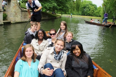 Students float down the River Cam during an interim course studying health care in England.