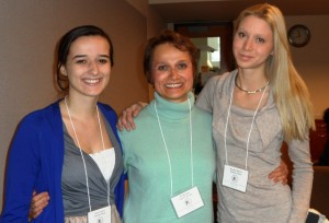 Isabel Connolly '14, l-r, Professor Ida Sinkevic, and Monika Krumova '13 at the Seventh Undergraduate Conference in Medieval and Early Modern Studies at Moravian College