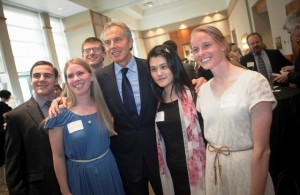 Tony Blair meets with students at the post-lecture reception.