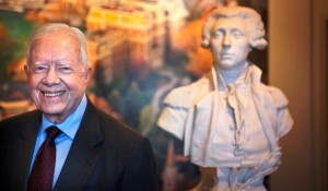 President Carter with the bust of the Marquis de Lafayette in Markle Hall