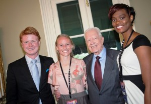 Student Government President Michael Prisco '14, Kelly Senters '13, President Carter, and Samantha Jordan '13