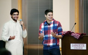 Eddie Andujar '15 shares a laugh with Hassaan Khan '13 during the Muslim Student Association's Eid-al-Adha dinner.