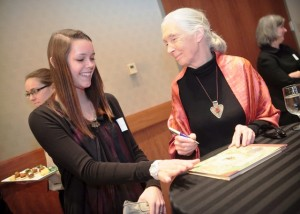 Jane Goodall signs a book for Jordan Close '14.