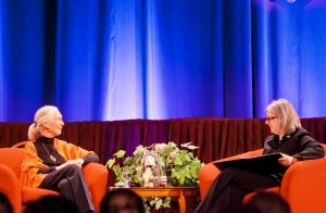 Jane Goodall speaks with Provost Wendy Hill during the question-and-answer session.