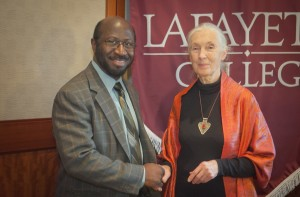 Professor Rex Ahene poses with Jane Goodall