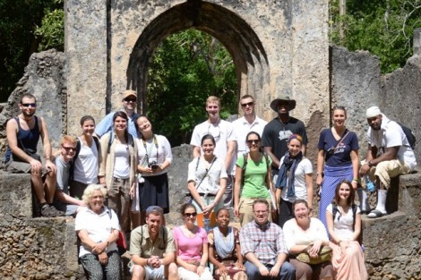 Lafayette students and Judy Rainy (one of Lafayette's in-country coordinators) at Gedi, the ruins of a coastal Swahili town which flourished between the 13th and 17th centuries.