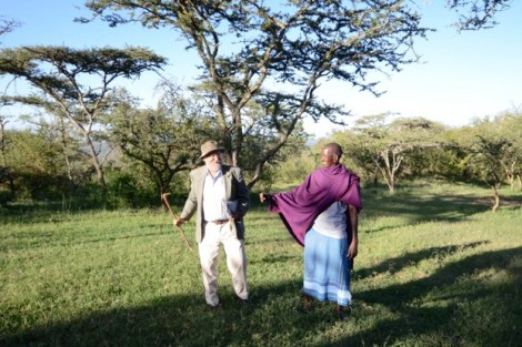 Mike Rainy and Pakuo Lesorogol, two of Lafayette's in-country coordinators, greet one another in Melepo.