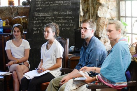 Sarah Woodruff '15, l-r, Aimee Smith '14, Zebulon Dingley, a Ph.D. student in anthropology from University of Chicago, and Tatiana Logan '13 field questions on their presentation about the dynamics of age and power in Maasai society.