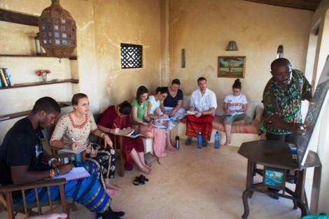 Students learn Kiswahili from language coordinator Gitau Kariuki.