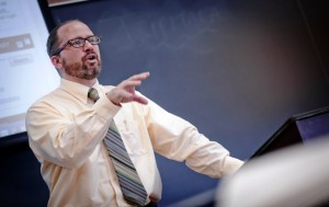 Professor Brett Hendrickson teaches Contemporary Religious Issues in Pardee Hall