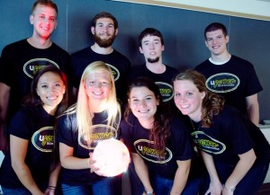 The eight students comprising the UPower Technologies team with the GameGlowb