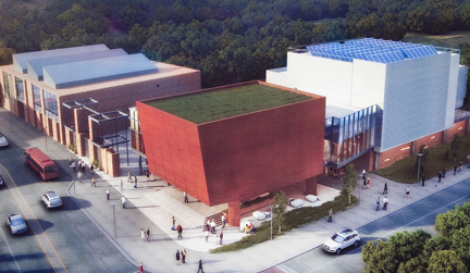 Artist's rendering of the Williams Arts Campus including the Ahart Family Arts Plaza