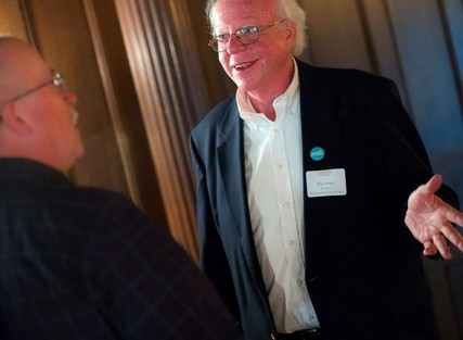 David Lauer '75, left, chats with Ellis Finger, director of the Williams Center during the ceremony marking the 50th anniversary of the McKelvy Scholars Program and the 125th anniversary of McKelvy House.