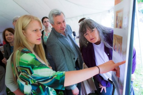 McKelvy Scholar Kara Enz '13 goes over some of the house's proposed renovations during the anniversary celebration.