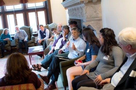 Robert Fisher '68 leads a discussion during the 50th anniversary of the McKelvy Scholars Program and the 125th anniversary of McKelvy House.