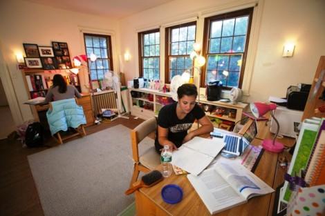 McKelvy Scholar Danielle Moran '15 studies in her second floor room in McKelvy House.