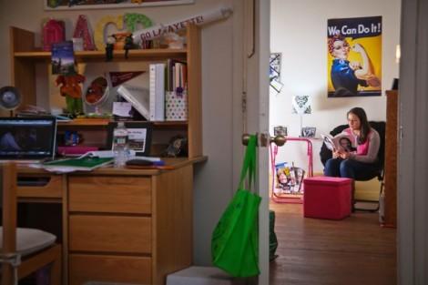 McKelvy Scholar Abigail Williams '15 studies in her room.