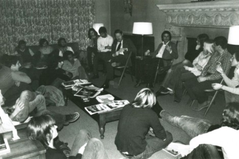 A Sunday night discussion at McKelvy House hosted by former mathematics professor and McKelvy adviser James Crawford (center with tie) in 1973