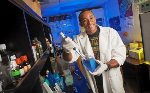 Kyle Tucker '14 works in a lab in Kunkel Science Center.