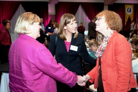 President Alison Byerly mingles with guests during the inauguration luncheon.