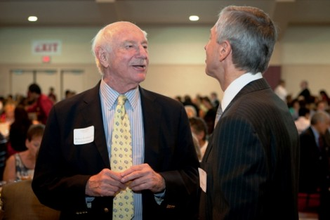 President Emeritus Arthur Rothkopf '55 talks with Vice Chair of the Board of Trustees Stephen Pryor '71.