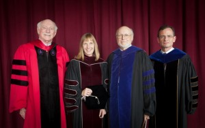 A presidential gathering: Four Lafayette presidents attended the inauguration ceremony- Arthur J. Rothkopf '55, l-r, Alison Byerly, David Ellis, and Daniel Weiss.
