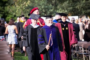 David Ellis, president emeritus of Lafayette, marched at the head of the delegates from colleges and universities during the Academic Processional.