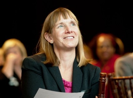 President Alison Byerly has a laugh during the inaugural dinner in Kirby Sports Center.