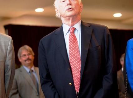 Arthur Rothkopf '55, president emeritus,sings the alma mater.